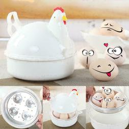 1*Chicken Shape Microwave 4 Eggs Boiler Steamer Poacher Boil